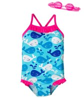 Jump N Splash Girls' Whale Tale One Piece Swimsuit w/ Free Goggles (4-6X)