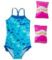 Jump N Splash Toddler Girls' Heart Art One Piece Swimsuit w/ Free Floaties (2T-3T)