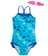 Jump N Splash Girls' Heart Art One Piece Swimsuit w/ Free Goggles (4-6X)