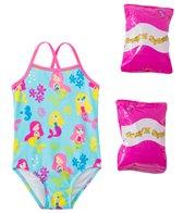 Jump N Splash Toddler Girls' Mermaid Party One Piece Swimsuit w/ Free Floaties (2T-3T)