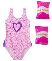 Jump N Splash Toddler Girls' Pure Heart One Piece Swimsuit w/ Free Floaties (2T-3T)