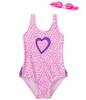 Jump N Splash Girls' Pure Heart One Piece Swimsuit w/ Free Goggles (4-6X)
