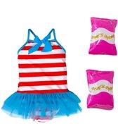Jump N Splash Toddler Girls' Sweet Sailor One Piece Swimsuit w/ Free Floaties (2T-3T)