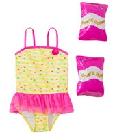 Jump N Splash Toddler Girls' Baby Heart Skirted One Piece Swimsuit w/ Free Floaties (2T-3T)