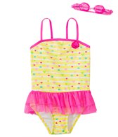 Jump N Splash Girls' Baby Heart Skirted One Piece Swimsuit w/ Free Goggles (4-6X)