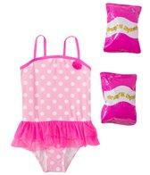 Jump N Splash Toddler Girls' Pink Polka Dot Skirted One Piece Swimsuit w/ Free Floaties (2T-3T)
