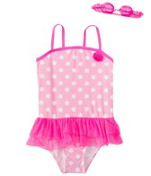 Jump N Splash Girls' Pink Polka Dot Skirted One Piece Swimsuit w/ Free Goggles (4-6X)