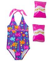 Jump N Splash Toddler Girls' Fab Fish Halter One Piece Swimsuit w/ Free Floaties (2T-3T)