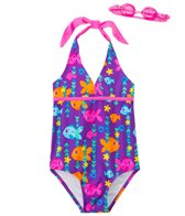 Jump N Splash Girls' Fab Fish Halter One Piece Swimsuit w/ Free Goggles (4-6X)