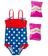 Jump N Splash Toddler Girls' Pretty Polka Dot One Piece Swimsuit w/ Free Floaties (2T-3T)