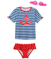 Jump N Splash Girls' Sweet Sailor Two-Piece Short Sleeve Rashguard Set w/ Free Goggles (4-6X)