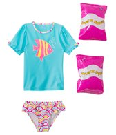 Jump N Splash Toddler Girls' Wish Fish Two-Piece Short Sleeve Rashguard Set w/ Free Floaties (2T-3T)