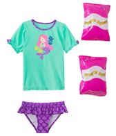 Jump N Splash Toddler Girls' Madame Mermaid Two-Piece Short Sleeve Rashguard Set w/ Free Floaties (2T-3T)