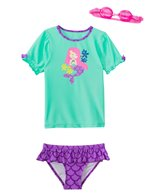 Jump N Splash Girls' Madame Mermaid Two-Piece Short Sleeve Rashguard Set w/ Free Goggles (4-6X)