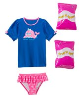 Jump N Splash Toddler Girls' Happy Whale Two-Piece Short Sleeve Rashguard Set w/ Free Floaties (2T-3T)