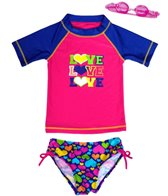 Jump N Splash Girls' Triple Love Two-Piece Short Sleeve Rashguard Set w/ Free Goggles (4-6X)