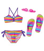 Jump N Splash Girls' Vibrant Stripe Two-Piece Swimsuit w/ Flip-Flop w/ Free Goggles (7yrs-14yrs)