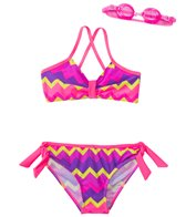 Jump N Splash Girls' Ziggy Stripe Two-Piece Swimsuit w/ Flip-Flop w/ Free Goggles (7yrs-14yrs)