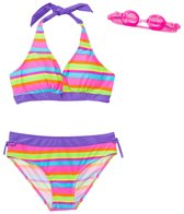 Jump N Splash Girls' Vibrant Stripe Halter Two-Piece Swimsuit w/ Flip-Flop w/ Free Goggles (7yrs-14yrs)