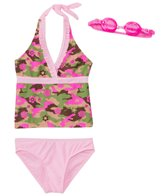 Jump N Splash Girls' Glam Camo Halter Two-Piece Swimsuit w/ Flip-Flop w/ Free Goggles (7yrs-14yrs)