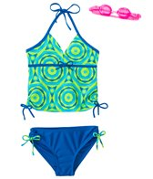 Jump N Splash Girls' Psychedelic Two-Piece Swimsuit w/ Free Goggles (7yrs-14yrs)