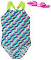 Jump N Splash Girls' Illusion Two-Piece Swimsuit w/ Flip-Flop w/ Free Goggles (7yrs-14yrs)