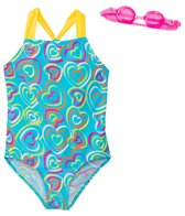 Jump N Splash Girls' Multi-Heart Two-Piece Swimsuit w/ Flip-Flop w/ Free Goggles (7yrs-14yrs)