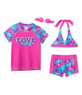 Jump N Splash Girls' Flower Love 3-Piece Rashguard Set w/ Free Goggles (4yrs-12yrs)