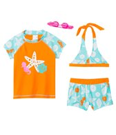 Jump N Splash Girls' Seastar 3-Piece Rashguard Set w/ Free Goggles (4yrs-12yrs)
