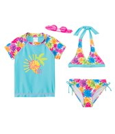 Jump N Splash Girls' Sun Love & Fun 3-Piece Rashguard Set w/ Free Goggles (4yrs-12yrs)