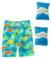Jump N Splash Toddler Boys' Shark Park Swim Trunk w/ Free Floaties (2T-4T)