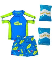 Jump N Splash Toddler Boy's Submerge Two-Piece Rashguard Set w/ Free Floaties (2T-3T)
