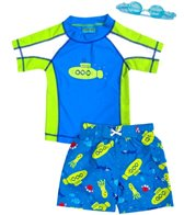 Jump N Splash Boy's Submerge Two-Piece Rashguard Set w/ Free Goggles (2t-7yrs)