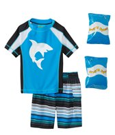 Jump N Splash Toddler Boy's Shark Attack Two-Piece Rashguard Set w/ Free Floaties (2T-3T)