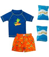 Jump N Splash Toddler Boy's Croc Waves Two-Piece Rashguard Set w/ Free Floaties (2T-3T)