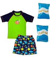 Jump N Splash Toddler Boy's Piranha Party Two-Piece Rashguard Set w/ Free Floaties (2T-3T)