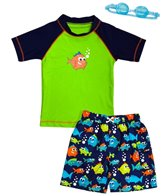 Jump N Splash Boy's Piranha Party Two-Piece Rashguard Set w/ Free Goggles (2t-7yrs)