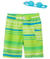 Jump N Splash Boy's Fine Line Swim Trunk w/ Free Goggles (4yrs-14yrs)