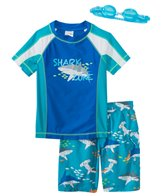 Jump N Splash Boy's Shark Zone Two-Piece Rash Guard Set w/ Free Goggles (4yrs-14yrs)