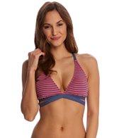Splendid Malibu Stripe Halter Wrap Bikini Top (D Cup)