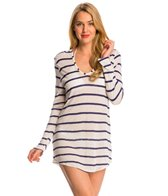 Splendid Hamptons Knit Striped Hooded Cover Up Tunic
