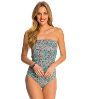 Beach Diva Swimwear New Paisley Queen Bandeau One Piece Swimsuit