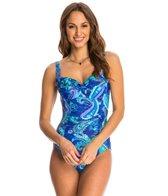 Beach Diva Swimwear Island Paisley Molded One Piece Swimsuit