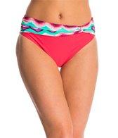 Beach Diva Swimwear Chevron Oasis Twist Hi Waist Bikini Bottom