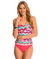Beach Diva Swimwear Chevron Oasis Shirred Bandeau One Piece Swimsuit