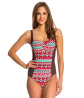 Beach Diva Swimwear Ethnic Grove Twist-Front Molded One Piece Swimsuit