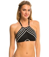 Robin Piccone Daniella Stripe High Neck Halter Bikini Top