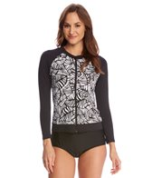 Caribbean Joe Urban Palm Zip Up Swim Shirt