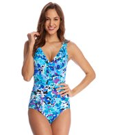 Caribbean Joe Under A Spell V-Neck Ruffle One Piece Swimsuit