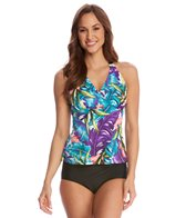 Caribbean Joe Luxe Leaves H-Back Halter Tankini Top (D/DD Cup)